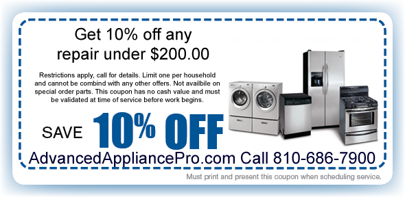 Advanced Appliance Repair Coupon Clio Genesee County